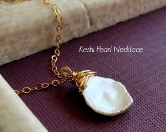 2-DAY 20% OFF SALE White Keshi Pearl necklace, cornflake pearl necklace, White Rose Petal Necklace, Gold fill, pearl jewelry, june birthston