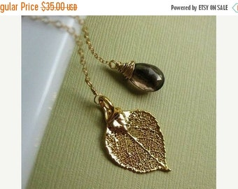 2-DAY 20% OFF SALE Gold Leaf Necklace, Real Aspen leaf necklace, lariat necklace, leaf jewelry, smoky quartz, gold fill, bridesmaid gifts