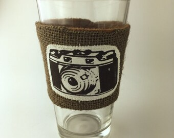 Camera Coffee/Beer Cozy with Gift Card Holder Option