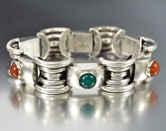 Vintage Carnelian Chrysoprase Silver Bracelet, Art Deco Bracelet, Machine Age 1920s Bracelet, European Boho Rustic Antique Jewelry