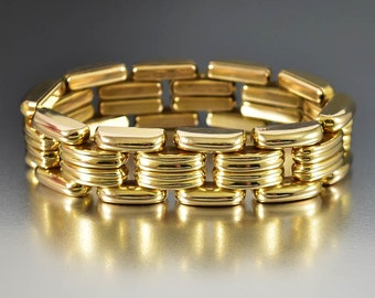 Art Deco Gold Panther Link Bracelet, Tank Tread Bracelet, Swiss Gold Bracelet, Vintage 1940s Jewelry, Machine Age Art Deco Bracelet