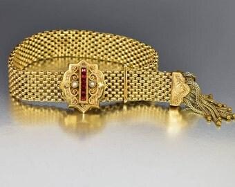 Victorian Pearl Garnet Bracelet, Antique Tassel Bracelet, Wedding Garter Bracelet, Gold Mesh Slide Bracelet, Etruscan Engraved Bracelet