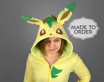 Leafeon Pokemon Costume Hoodie - Made to Order
