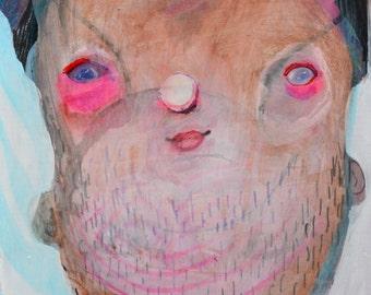 OOAK Bearded Lady Painting on Cradleboard