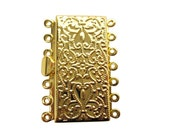 7 Strand Clasp, Multi Strand Clasp, Brass Box Clasp, Rectangle Clasp, Gold Plated Clasp, 7 strand, 26mm x 36mm x 5mm, SKU 5085