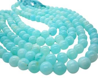 Blue Peruvian Opal Beads, Round Blue Opal, Peruvian Opal Beads, Blue Opal Beads, SKU 4951