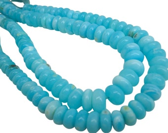 Blue Peruvian Opal Beads, Peruvian Opal Beads, Blue Opal Beads, Rondelles, 10-11mm, Aqua Gemstone, Wholesale Opal, SKU 4900