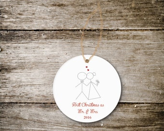 Christmas Ornament, First Christmas Together, First Christmas Married, Our First Christmas, Wedding Gift, Bridal Shower Gift, Ceramic
