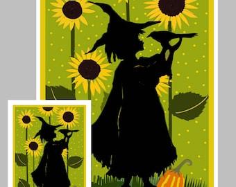 Child's Halloween  Card,   Halloween Greeting Card,  Halloween Invitation, Handmade Card, Witch Card, Crows, Sunflowers, Green, Pumpkins