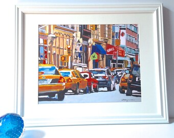 Flow Traffic Yellow Taxi Cabs NYC Painting New York Art City Urban Print Framed in White,  New York City Painting by Gwen Meyerson