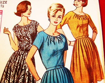 Party Dress Pattern 1960s Womens Half Size 24.5 Bust 45 UNCUT Vintage Simplicity Pattern Softly Pleated Key Hole Dress with Bow Pattern
