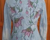 Hand Drawn and Painted Denim Blazer Jacket  - Wearable Art