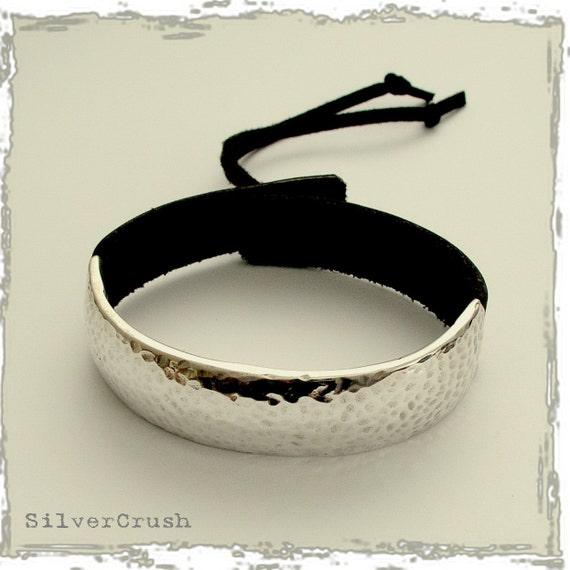 Hammered sterling silver Bracelet, black or brown leather bracelet, unisex bracelet , hammered silver bracelet, wide - Full moon B6649