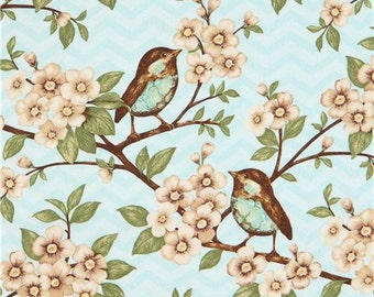 206174 light blue bird leaf flower fabric Cherry Blossom Love Blank Quilting USA
