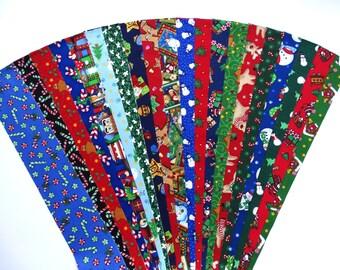 Fabric Christmas Cuties Cotton Jelly Roll Xmas Quilting Strip Pack Material Die Cut 20 Strips No Dups (sku JR120-CHCTbd)