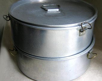 US ARMY Field Mess Lidded Aluminum Cooking Pots Southeastern Metals, Military WWII Metal Cooking Pots, Collectible Rare Military Cookware
