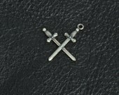 Crossed Sword charms, set of 3 antique silver finish, 15285CS