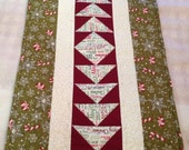 Christmas Candy Cane  Table Runner Quilted Snowflakes