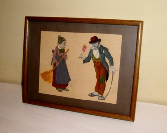 Folk Art Wooing Couple Die Cut Paper Dolls Fabric Framed old vintage antique