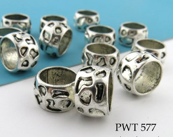 13mm Large Hole PewterTextured Ring Bead (PWT 577) 8 pcs BlueEchoBeads