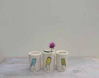 Mini bird vase, set of three, small blue green and orange bird vases, stocking stuffer