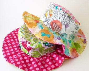 Wide brim hat for girls, girly and sophisticated, reversible sun protection for kids, beautiful watercolor inspired