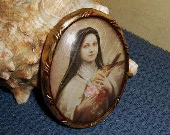 Antique French Miniature St. Anne France Icon Litho Print Oval Frame Saint Ann L M & C