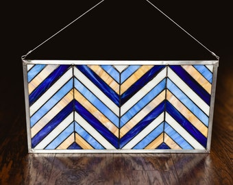 Chevron Blues - Stained Glass Panel