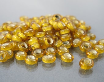 destash 128 pieces gold yellow African wound glass beads big hole