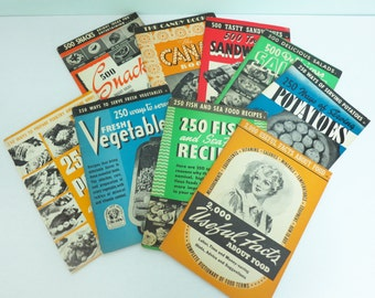 Lot of 1940s Cook Booklets by the Culinary Arts Institute, Recipes for Salads, Poultry, Fish, Sandwiches, Snacks, Vegetables & More