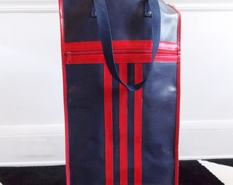 vintage 1960s blue and red rolling bag/60s portable shopping bag/ mod wheel carry tote bag/ trolley grocery bag