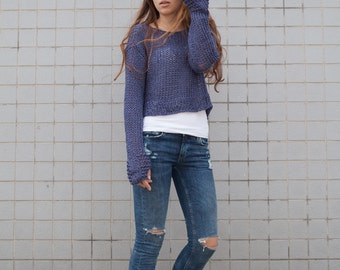 Hand knit woman cotton sweater cropped top cover up orchid blue