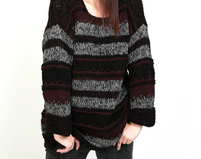 Hand knitted Woman Sweater Oversized pullover in black grey plum stripe