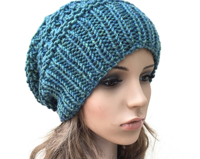 Hand knit hat - Oversized Chunky Wool Hat, slouchy hat in green