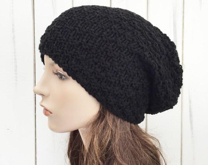Hand knit slouchy woman Wool Hat woman winter hat black knit hat unisex hat