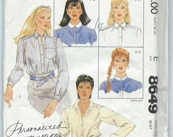 McCall's 8649 Misses' Shirt - Size 12 - Uncut Vintage Pattern