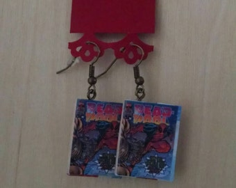 Mini Deadpool Comic Book Earrings - Comic Book Jewelry - Handmade Comic Book Earrings - Comic Book Jewelry - Deadpool Comic Book Earrings