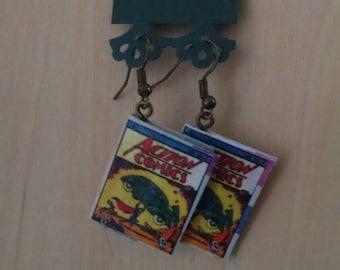 Mini Superman Comic Book Earrings - Comic Book Jewelry - Superman Comic Book Earrings - Comic Book Jewelry - Handmade Comic Book Earrings