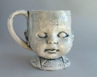 Doll Head Mug - coffee cup, coffee mug, doll head mug