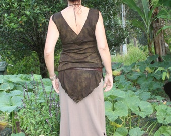 Fungi grey brown Hemp / Organic Cotton extra long Iris Skirt size small