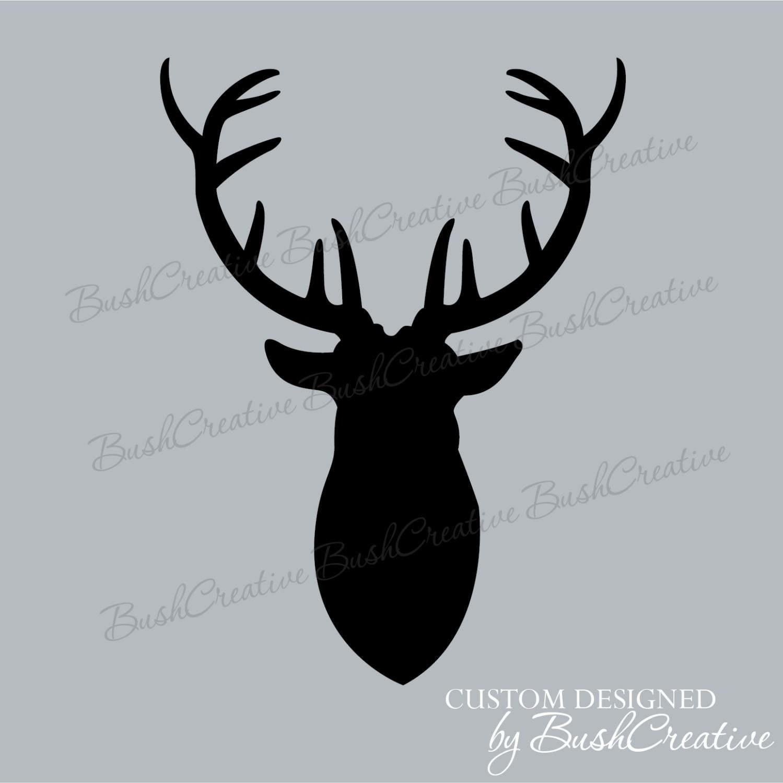 Antlers Mounted Deer Head Wall Decal Hunting Trophy Vinyl Deer