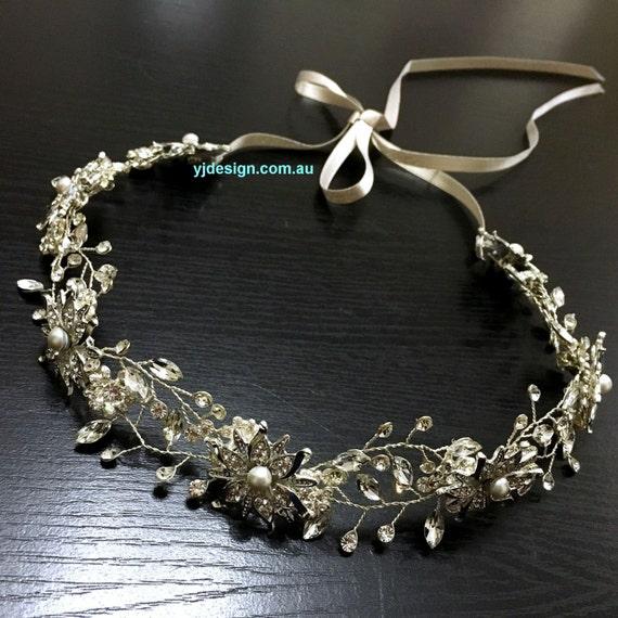 Bridal Hair Vine, Wedding Wreath, Crystal Bridal Tiara, Swarovski Pearl Headband, Floral Bridal Crown, Bridal Halo, DAISY Flower Tiara
