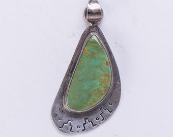 Green Turquoise Pendant - Sterling Crow Springs Turquoise - Bailon - Kewa