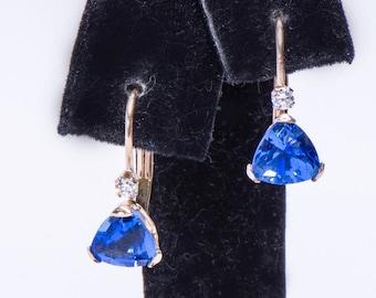 Sapphire 10k Gold Earrings - Vintage Leverback - Quartz Triangle