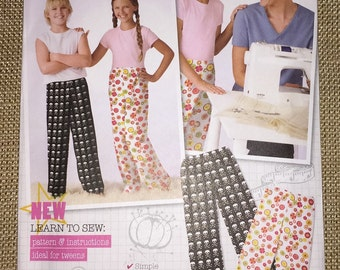 Simplicity 3553 Pajama Lounge Pants Sewing Pattern Tweens Size  7  8  10  12  14  UNCUT