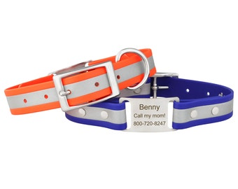 Reflective ScruffTag Waterproof Personalized Dog Collar with Built In Engraved Nameplate