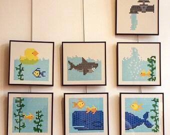 FAUCET AQUARIUM : Seven Lego Letterpress Prints