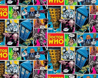 Doctor Who Comic Strip BBC Cotton Woven by the yard