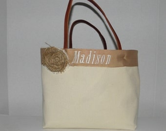 2 Monogrammed, Personalized Tote,Valentines,  Flower Girl, Bridesmaids, Wedding, Birthday, Shower gift