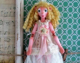 Tedi Bear Girl, doll ornament, puppet art doll, handmade in the USA
